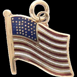 "14 Kt Gold, Enameled Charm Pendant American Flag Vintage 1/4"" x 1/4"""