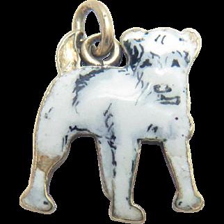 14Kt Gold Charm Pendant White Enameled Terrier Dog Vintage Tiny