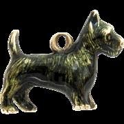 14Kt Gold Enamel Charm Pendant Cairn Terrier Dog 3D Vintage Tiny