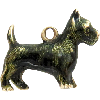 14Kt Gold Enameled Charm Pendant Cairn Terrier Dog 3D Vintage Tiny