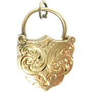 "14 Kt Rose Gold Padlock Charm Clasp Charm Shield Victorian 2.6 g Antique 7/8"" H"