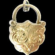 "Antique Padlock Charm Clasp 14K Rose Gold Shield Victorian 2.6 g  7/8"" H"