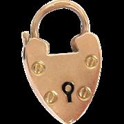 "9 Kt Rose Gold Padlock Charm Clasp for Charm Bracelet Heart Antique 2.6 g 1"" H"