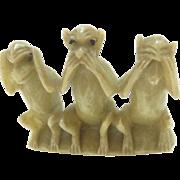 Chinese Soapstone Three Monkeys Hear no Evil, Speak no Evil, See no Evil Vintage