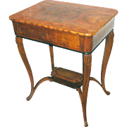 Biedermeier Sewing Table Fruitwood Ebony Antique