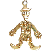 14 Kt Gold Charm Pendant Clown Articulated Harlequin, Puppet Vintage 3.4 g 3 D