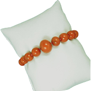 Red Coral Bead Bracelet Beautiful Antique Graduated.
