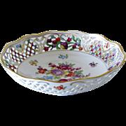 "Schumann Arzberg Bowl Empress Dresden Flowers Pattern Reticulated Rim 8"""