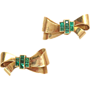 Vintage Earrings 14 Kt Rose Gold 1940s Bow with Emeralds Screw Backs