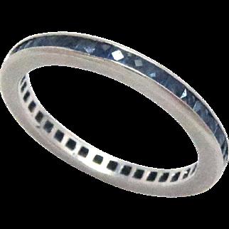 Wedding Band Ring Eternity Platinum French Cut Sapphire Vintage Estate 5.5