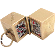 14 Kt Charm Miniature Box of Canasta Playing Cards Vintage