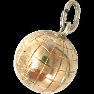 Vintage 14 K Globe Charm Yellow Gold 3 D 4 g 14 mm