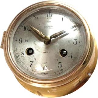Vintage Brass Salem Ship Bell Eight-Day Clock Working