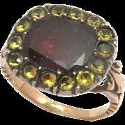 Early Georgian Ring 15 Kt Rose Gold Garnet Paste  1800