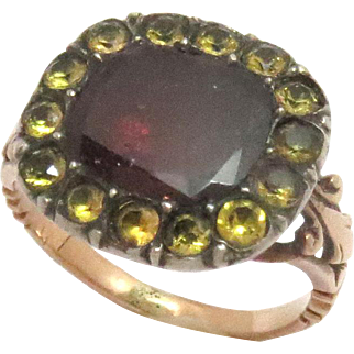 Early Georgian Ring 15 Kt Rose Gold Garnet Paste  1800