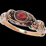 14 Kt Gold Ring Georgian Early Victorian Biedermeier Enameled Garnet