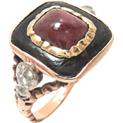 Early Victorian 14 Kt Gold Ring Almandine Garnet Diamond Black Onyx