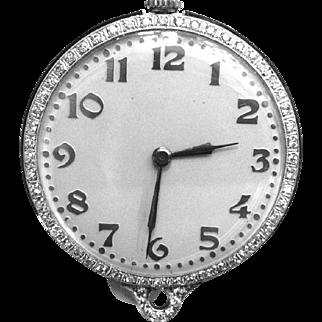 Platinum and Diamond Pendant Watch Vintage 1920s