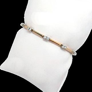 "14Kt Gold Tennis Bracelet 1 Ct Diamonds Yellow and White 6.5"" L"