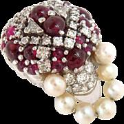 14 kt White Gold Pin Brooch Jockey's Hat Rubies Diamonds Pearls Vintage