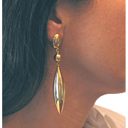 "18Kt Yellow Gold Teardrop Earrings Long Vintage 1940s 3.75"" L 16.3g"