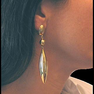 """18Kt Yellow Gold Teardrop Earrings Long Vintage 1940s 3.75"""" L 16.3g"""