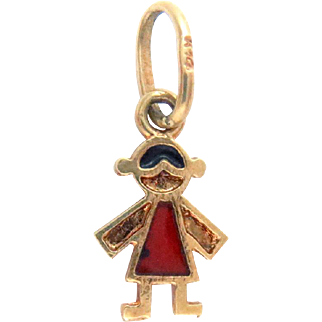 14K Gold Charm Pendant Girl Red and Black Enameled Vintage Italy