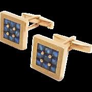 Estate Men's Cuff-links 18 kt Yellow Gold Blue Sapphire Square Checkerboard