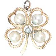 14 K Yellow Gold 4 Leave Clover Lucky Charm Pendant Pearl Vintage