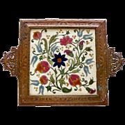 Tile Trivet Art Pottery Zsolnay Pecs 19th Century Antique