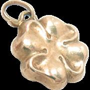 14 kt Gold Four Leaf Clover Charm Pendant Vintage