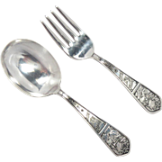 Baby Spoon and Fork Sterling Silver Roger's Original Vintage Box  34 g