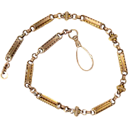 "Watch Chain Necklace 14 Kt Yellow Gold Prince Albert style 16"" L, 34.4 g"