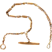 "14 K Rose Gold Prince Edward Watch Chain Choker Fob Victorian 15"" L 32 g Circa. 1870 - 1890"
