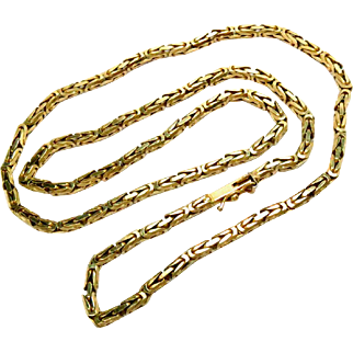 "14Kt Yellow Gold Chain Necklace Vintage Estate 18"" L 19.2 g"