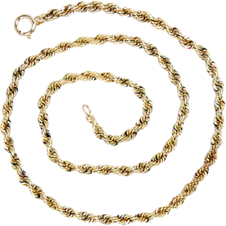 "14k Yellow Gold Hand Made Rope Chain, Vintage 16"" L 24.3 g"