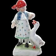 Herend Porcelain Figurine Girl Feeding a Goose Vintage