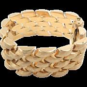 "18 Kt Yellow Gold Bracelet 1"" Wide 1960s Retro 70 g"