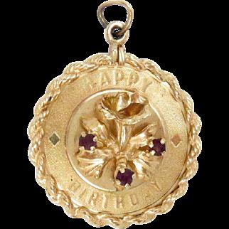 14K Gold Charm Pendant Birthday Flower Amethyst Vintage 6.9 g