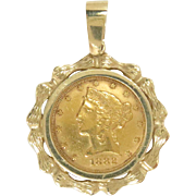 1882 Liberty Head $5 Gold Coin 22 Kt Charm Pendant Vintage 14 Kt Frame