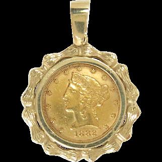 1882 Liberty Head $5 Gold Coin 22 Kt Charm Pendant Vintage 14 Kt Frame