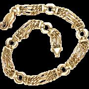 "Charm Bracelet 14 Kt Yellow Gold Vintage 8"" L, 10.8 g"