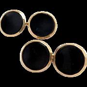 Vintage Cufflinks 14 Kt Gold Black Onyx , Larter & Sons Double Sided