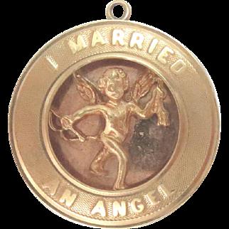 "14 Kt gold Charm Pendant ""I Married an Angel"" Vintage"
