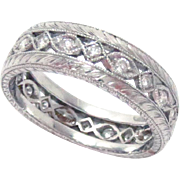 Diamond Wedding Eternity Band Ring Platinum 6.5 mm W Size 6.75 Estate