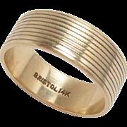 Gold Cigar Band Ring 14 Kt Yellow Gold Bristol Vintage 5.75, 6.5 mm W