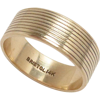 Gold Cigar Band Ring 14 Kt Yellow Gold Bristol Vintage 5.75, 6.5 mm W