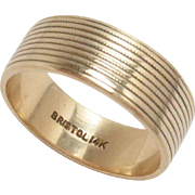 14 Kt Yellow Gold Bristol Gold Cigar Band Ring Vintage 5.75, 6.5 mm W