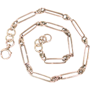 "Watch Chain Necklace 9 Kt Yellow Gold Prince Albert style 16.25"" 29.3 g"