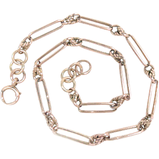 """Watch Chain Necklace 9 Kt Yellow Gold Prince Albert style 16.25"""" 29.3 g"""